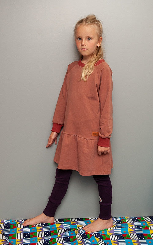 lamama Long Sleeve Dress - BRICK FRILL