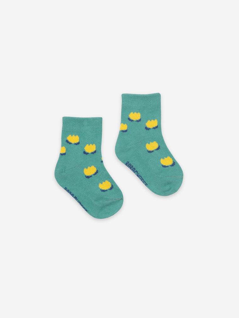 Chocolate Flowers Green BABY Socks
