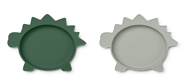 Olivia Plate 2 Pack - Dino garden green/dove blue mix