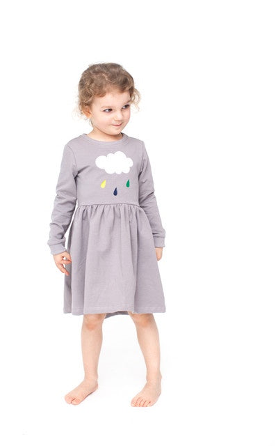 lamama Long Sleeve Grey Cloud Dresses