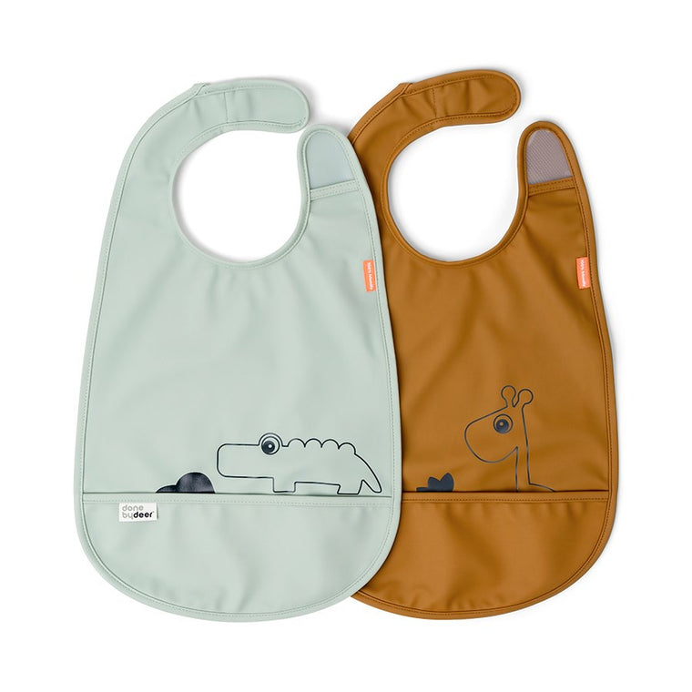 Bib w/Velcro 2-pack Deer Friends Mustard/Green
