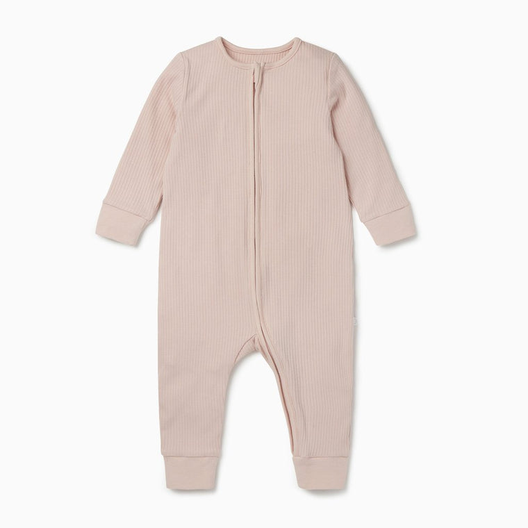 BABY MORI RIBBED BLUSH ZIP UP SLEEPSUIT