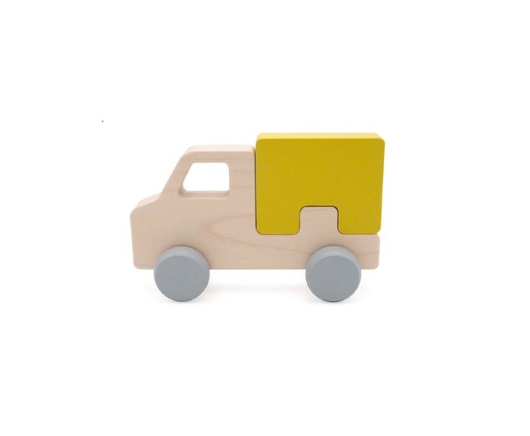 Briki Vroom Vroom Wooden Puzzle Track Yellow