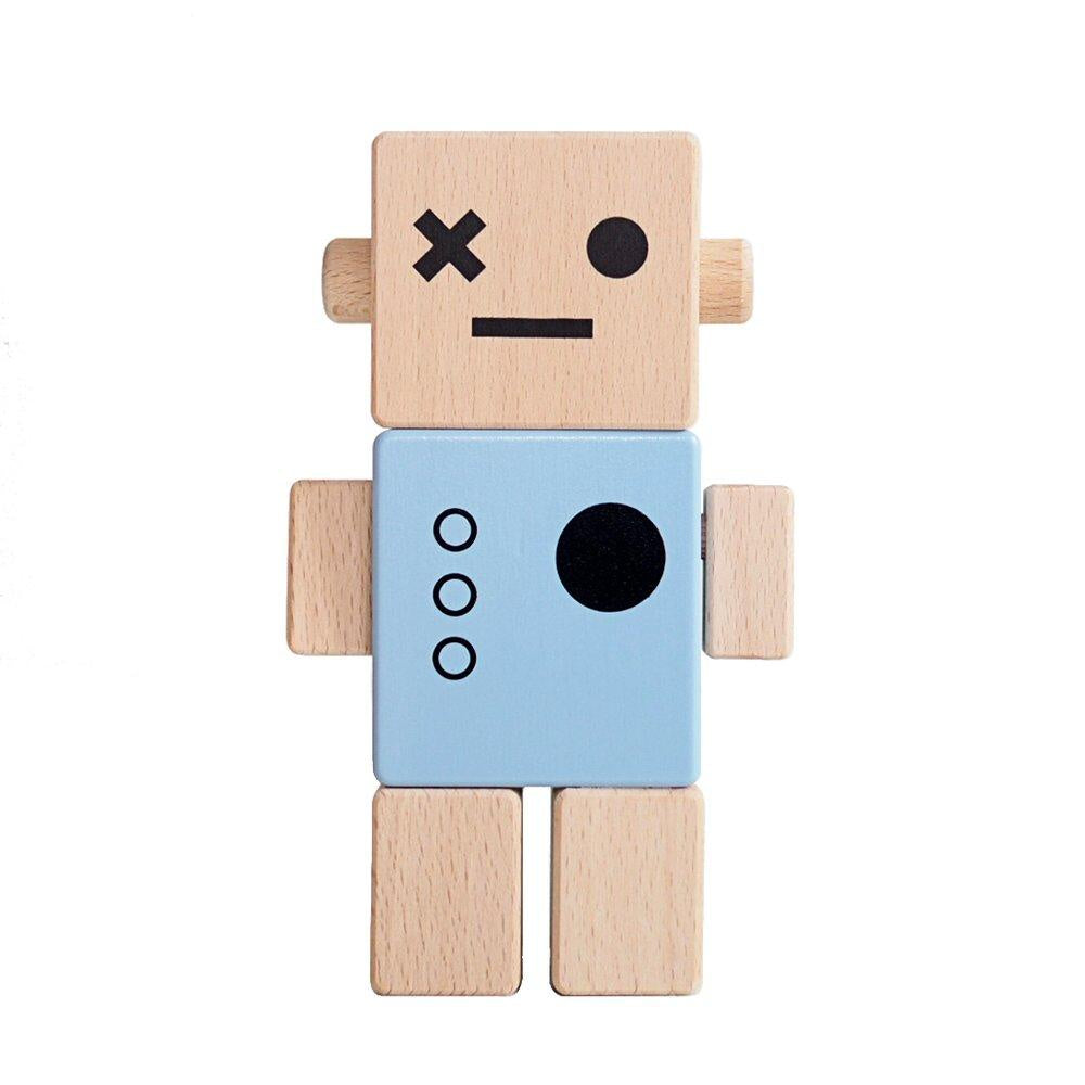 Briki Vroom Vroom Wooden Robot Blue