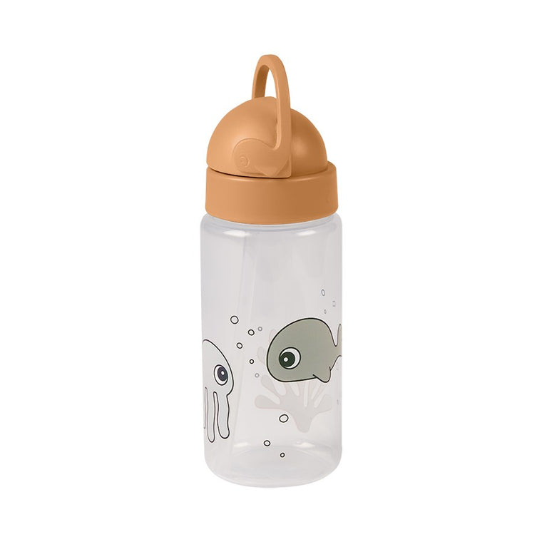 Straw bottle Sea friends Mustard/Grey