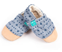 Titot Organic Slippers Leather Toe Cap Navy Weave