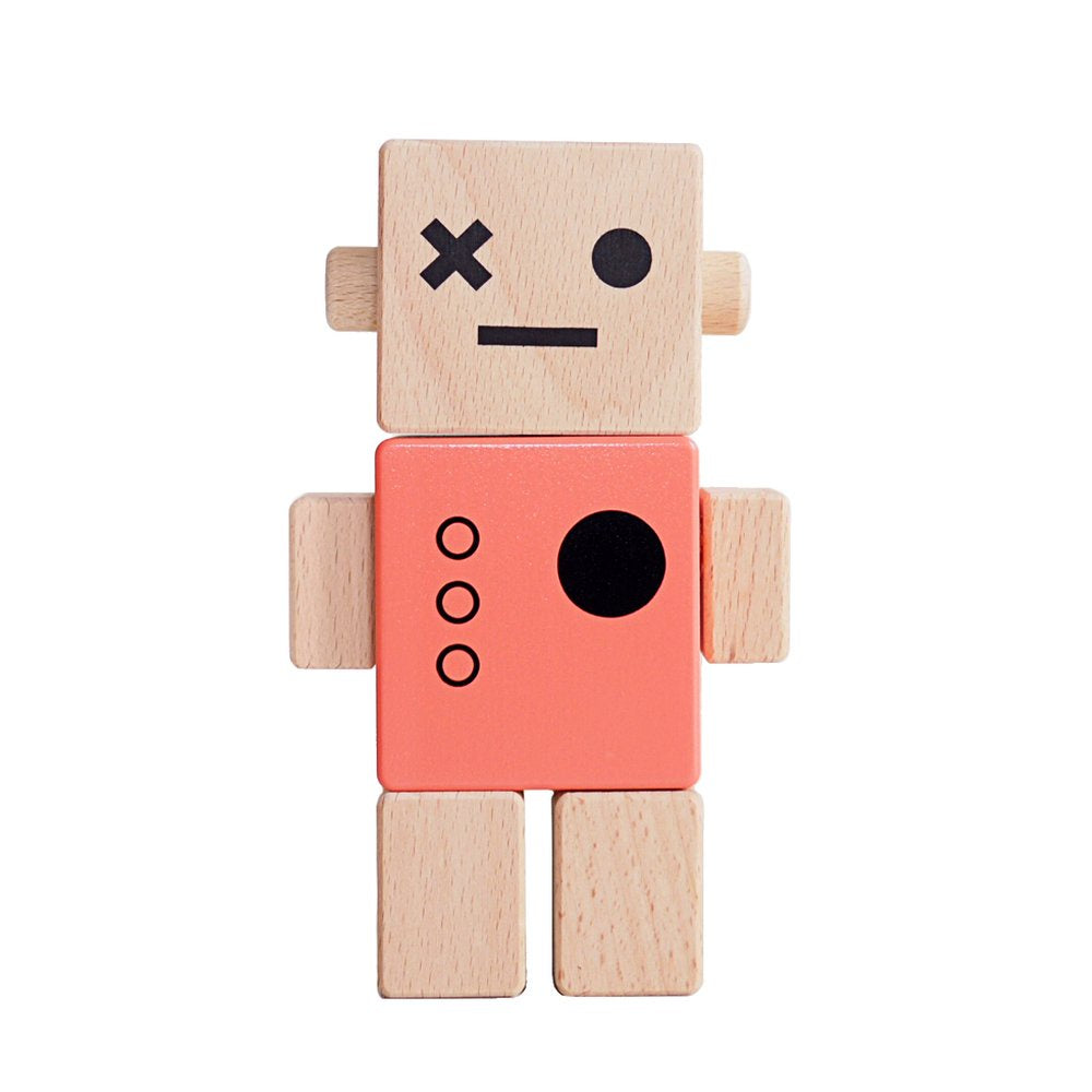 Briki Vroom Vroom Wooden Robot Red