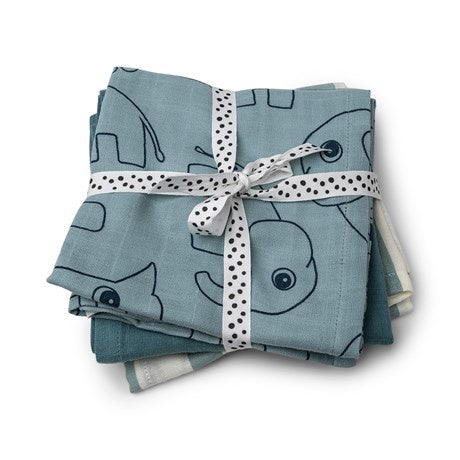 Burp cloth 3-pack - GOTS - Deer friends Blue
