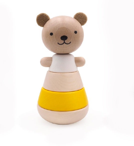 Briki Vroom Vroom Wooden stacking Bear Yellow