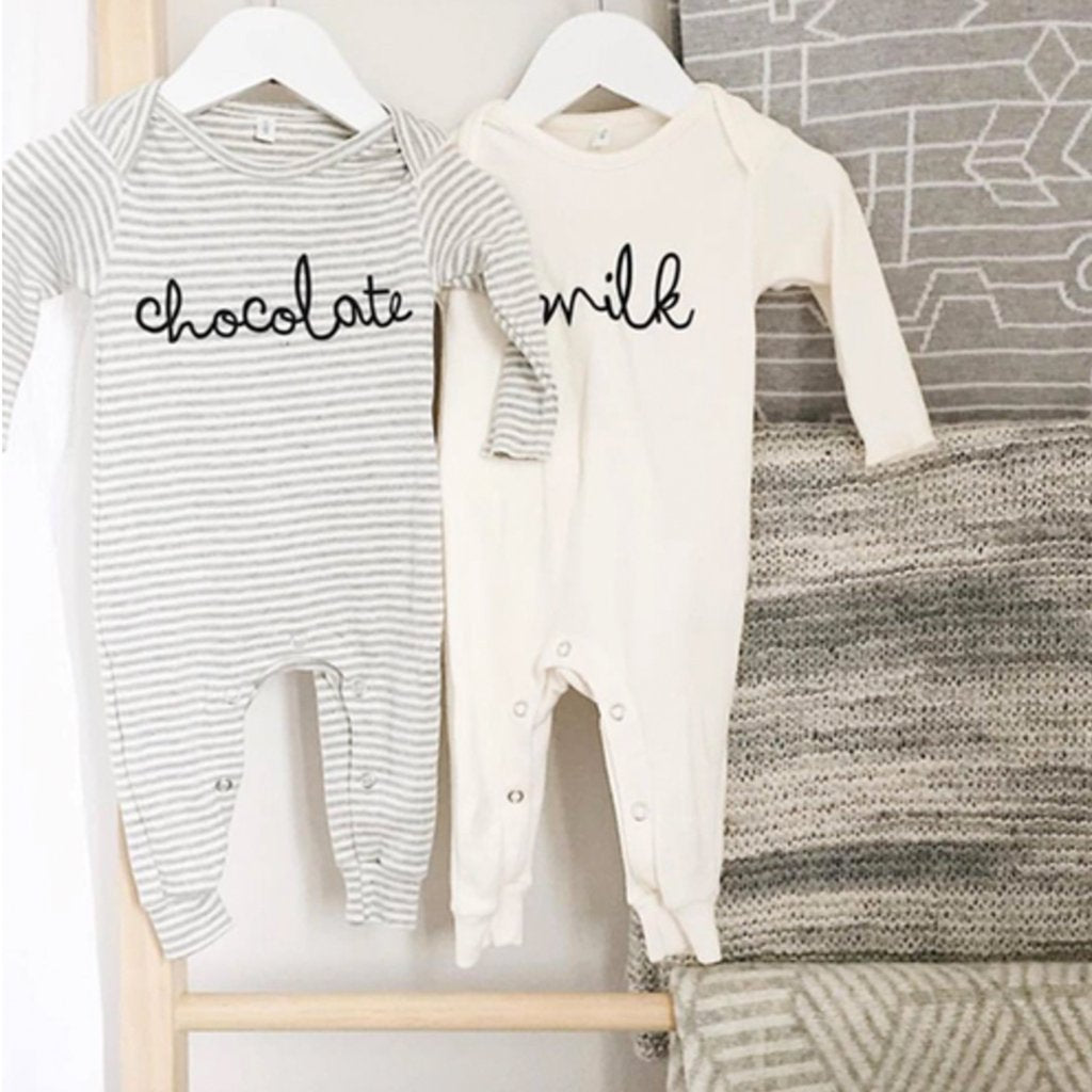 Organic Zoo GREY STRIPES PLAYSUIT CHOCOLATE
