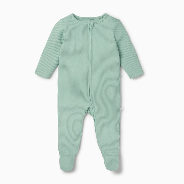 BABY MORI RIBBED MINT ZIP UP SLEEPSUIT