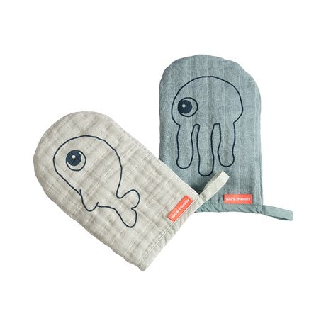 Wash cloth 2-pack Sea friends Blue