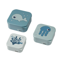 done by deer Snack box set 3 pcs Sea friends Blue
