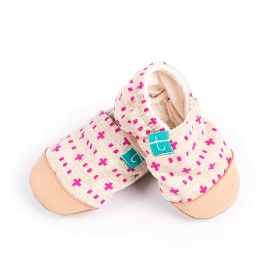 organic slippers leather toe cap hot pink weave
