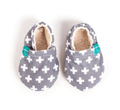 organic slippers swiss cross grey