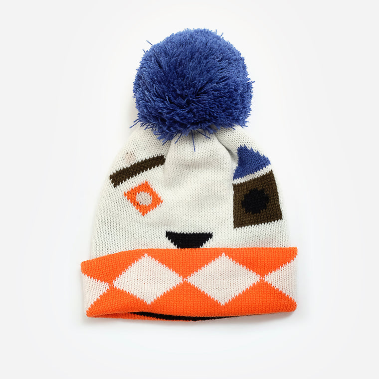 Indikidual Shapes Knitted Pom Pom Hat
