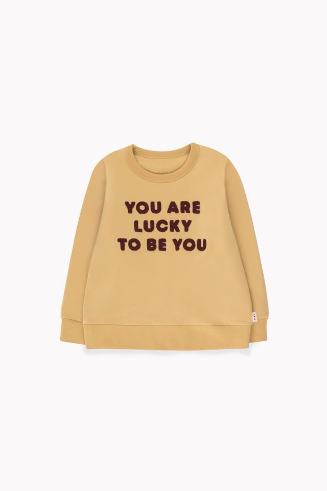 tiny cottons YOU ARE LUCKY SWEATSHIRT SAND and AUBERGINE