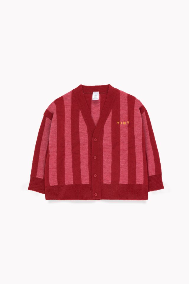 tiny cottons STRIPES CARDIGAN burgundy/bubble gum