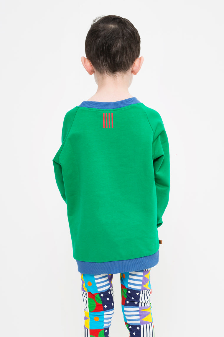 lamama Jumper Green with Red Stripes