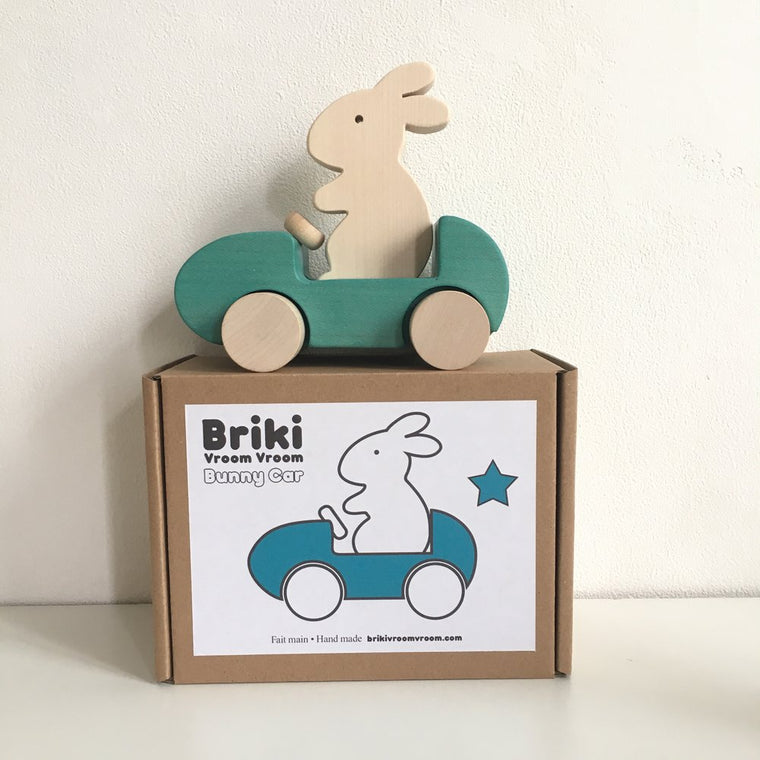 Briki Vroom Vroom Wooden Bunny Car Turquoise