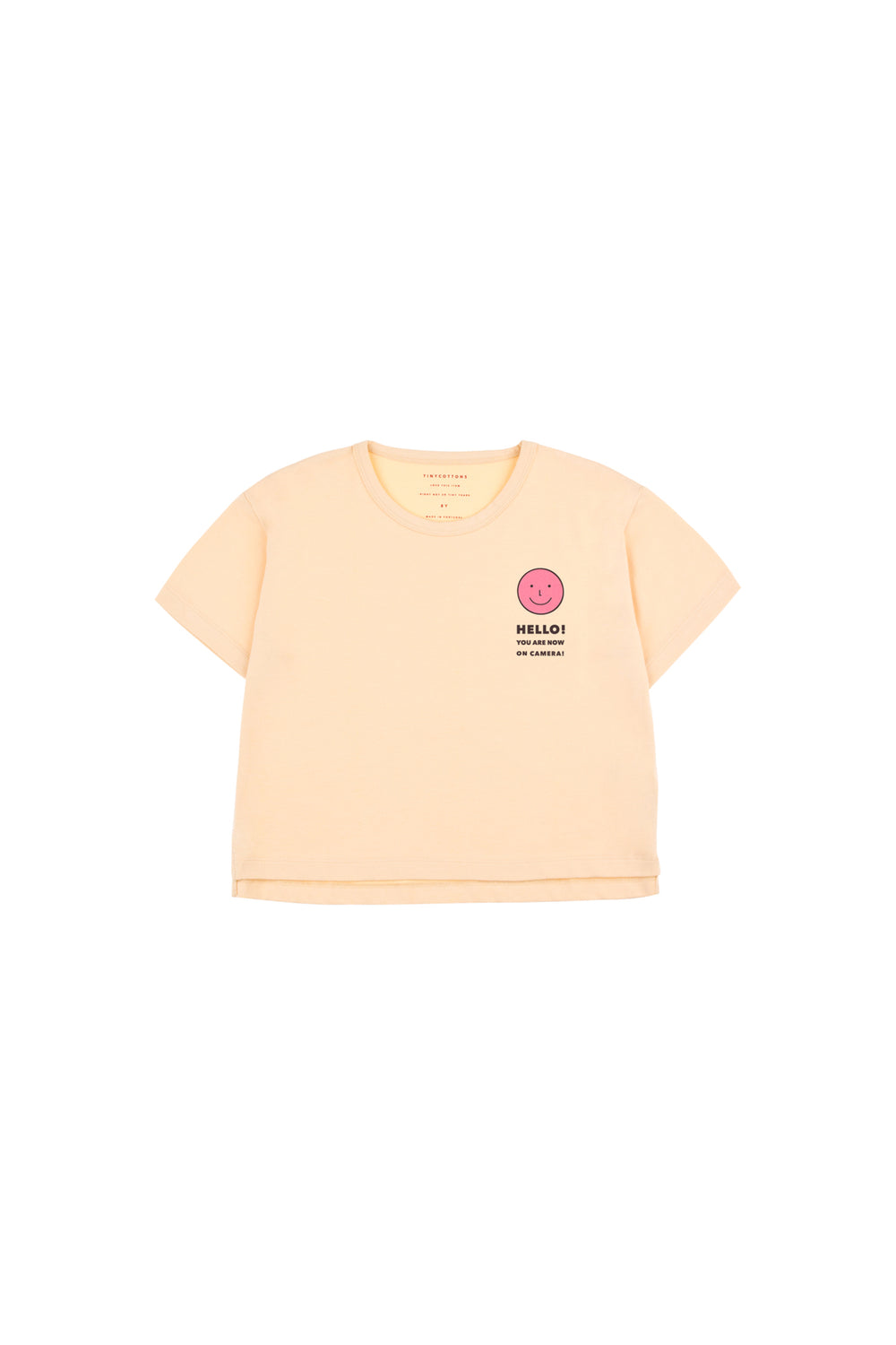Tiny Cottons HELLO Short Sleeve CROP TEE cream / rose