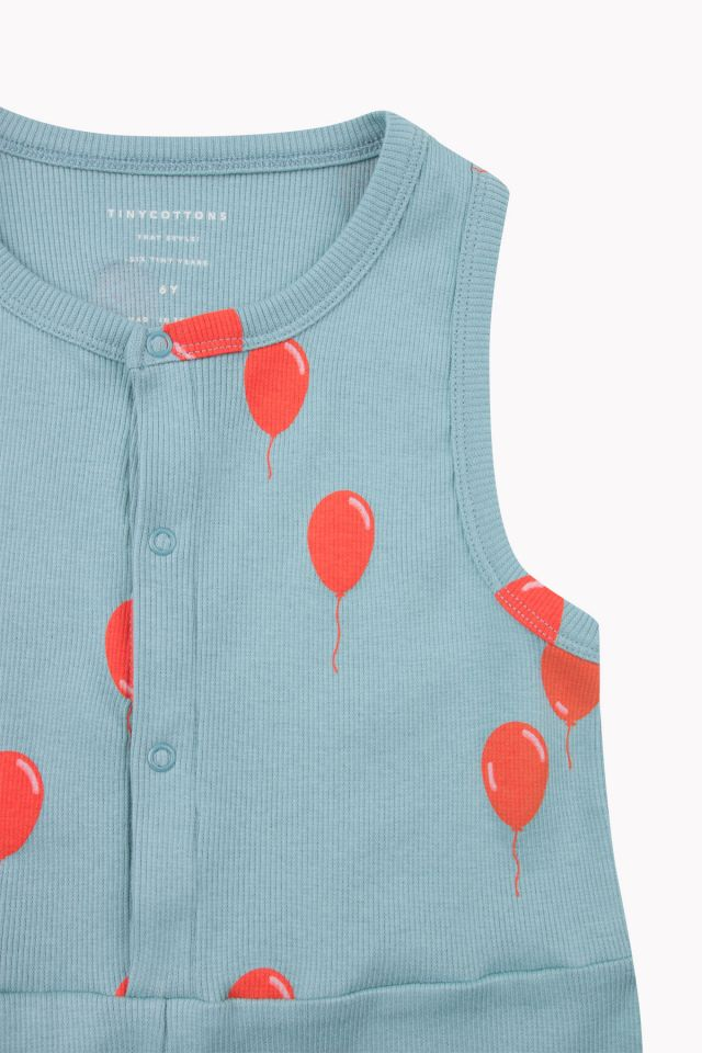 Tiny Cottons BALLOONS short sleeve ROMPER SEA GREY / RED