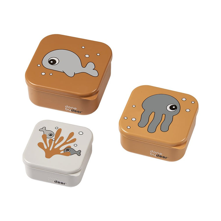 Snack box set 3 pcs Sea friends Mustard/Grey