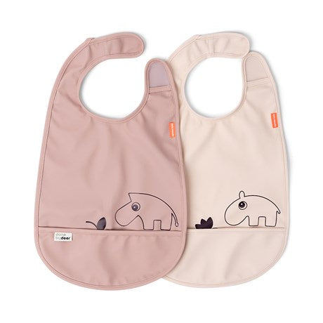 Bib w/Velcro 2-pack Deer Friends Powder