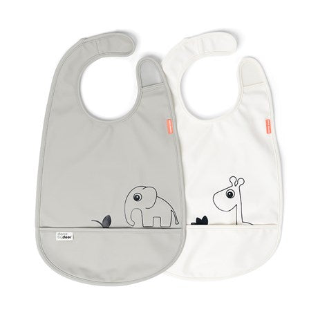 Bib w/Velcro 2-pack Deer Friends Grey/Beige