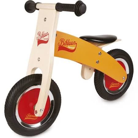 Janod My first Little Bikloon Wooden Balance Bike, Orange/Red