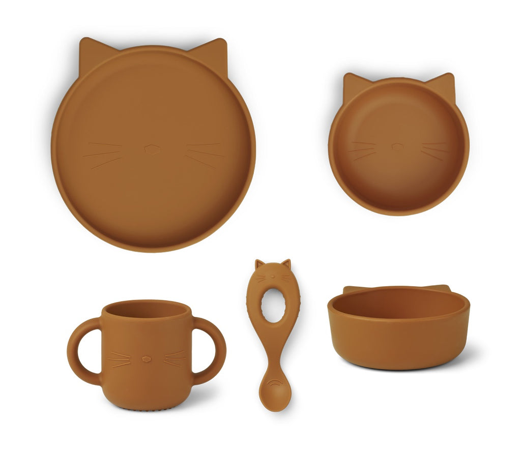 Vivi Silicone Tableware 4 pack - Baby - Cat mustard