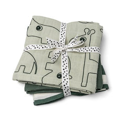 Burp cloth 3-pack - GOTS - Deer friends Green