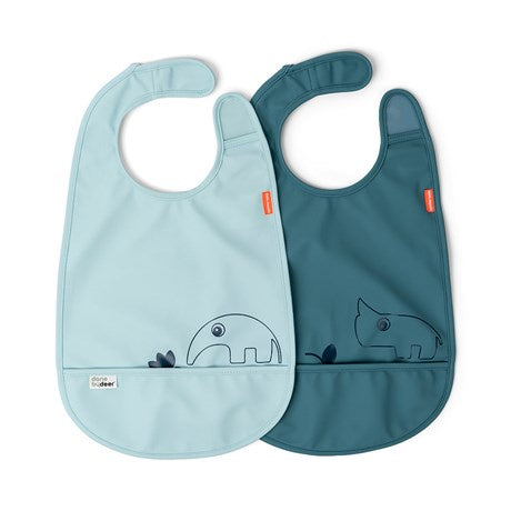 Bib w/Velcro 2-pack Deer Friends Blue