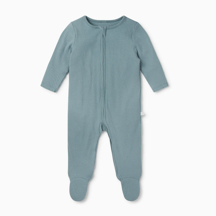 BABY MORI RIBBED BLUE ZIP UP SLEEPSUIT