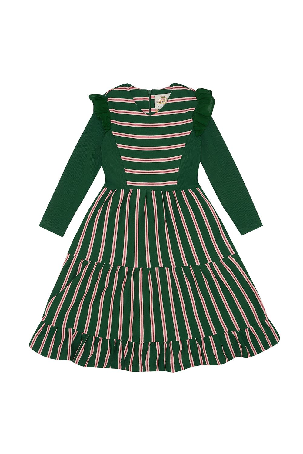 Middle Daughter Dress THREE TIERS FOR YOU Stripes GREEN