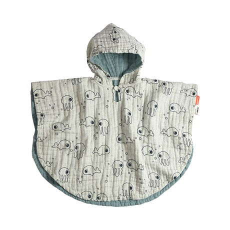 Bath poncho Sea friends Blue
