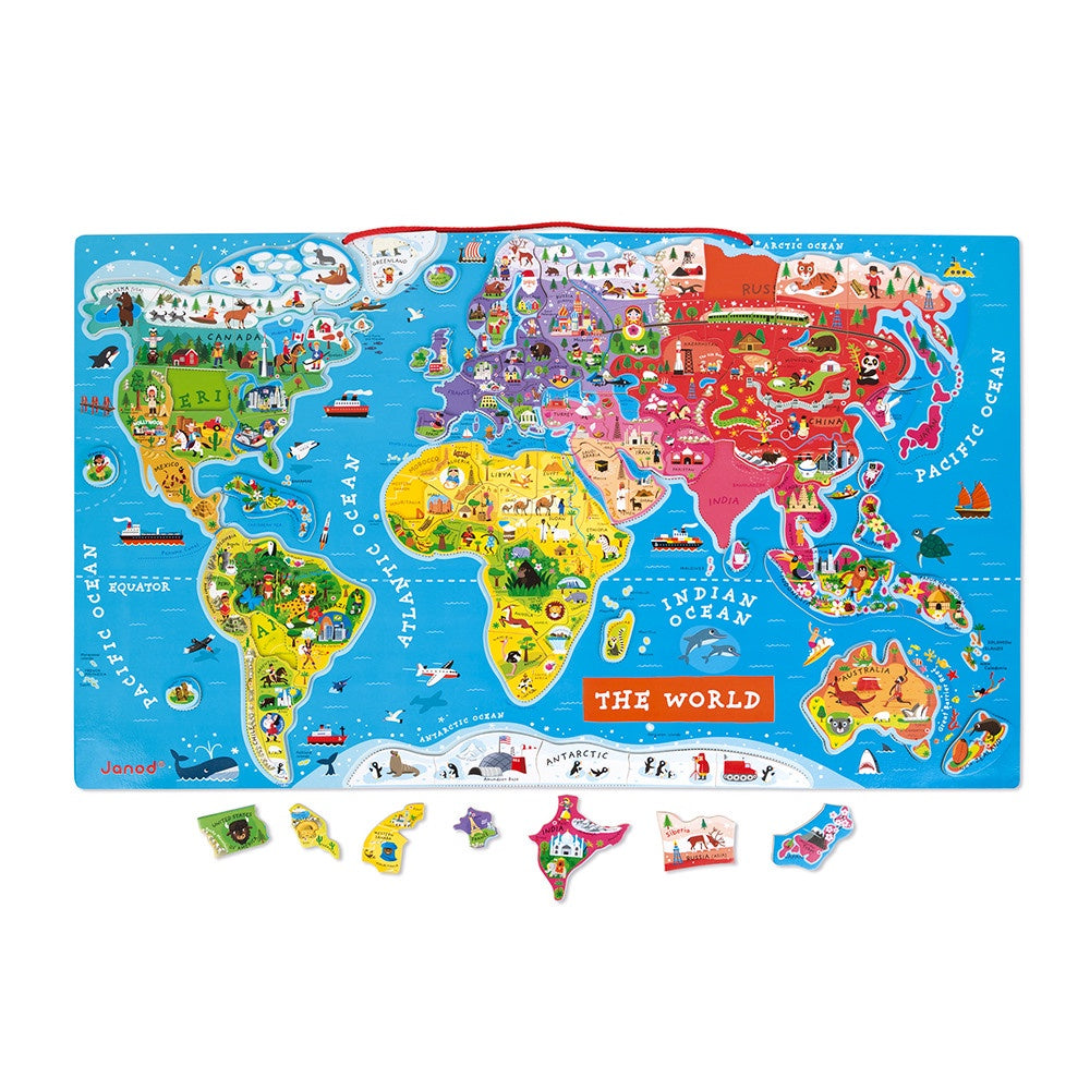 Janod MAGNETIC WORLD MAP PUZZLE 92 PIECES (WOOD)