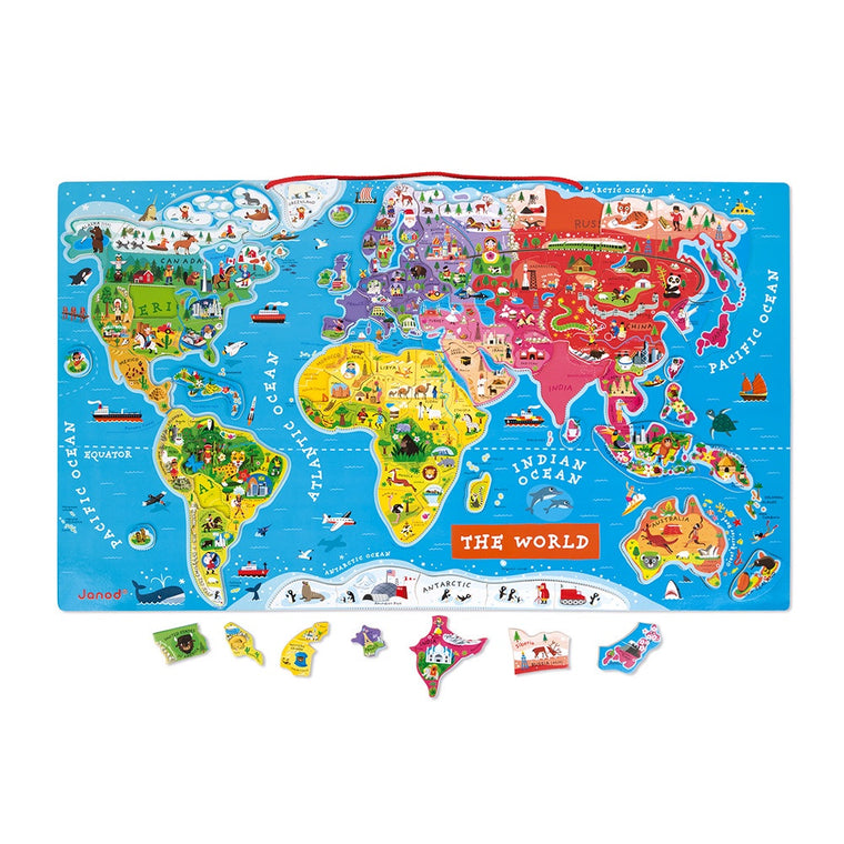 Janod MAGNETIC WORLD MAP PUZZLE ENGLISH VERSION 92 PIECES (WOOD)