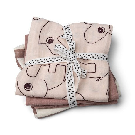 Burp cloth 3-pack - GOTS - Deer friends Powder