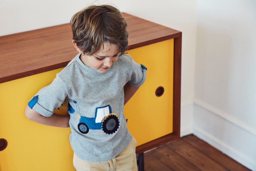 UBANG Boys Grey Tractor Top