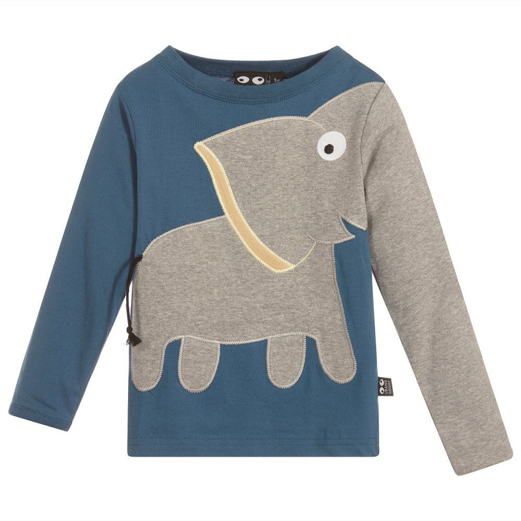 UBANG Boys Blue Elephant Organic Top