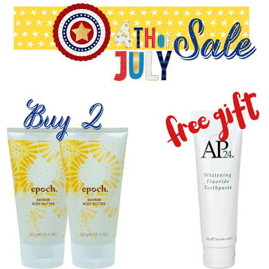 Buy 2 body butter FREE whitening toothpaste