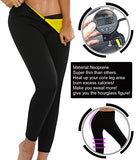 LAZAWG Women Sport Long Pants Slimming Neoprene Sweat Sauna Pants Body Shapers, Black, M (waist 26-28inch)