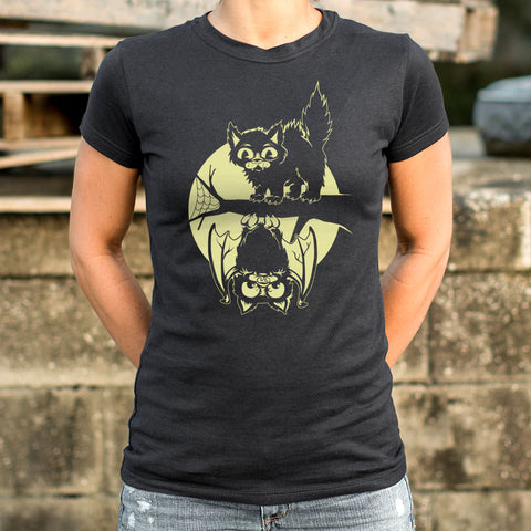 Ladies Cat And Bat Halloween T-Shirt