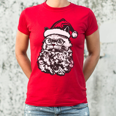 Ladies Cat Santa T-Shirt