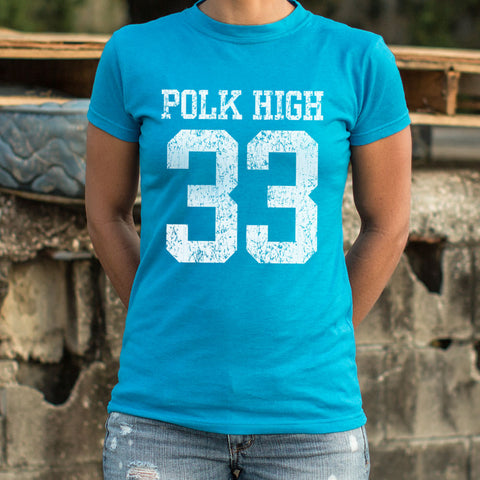 Ladies Polk High Number 33 Football T-Shirt