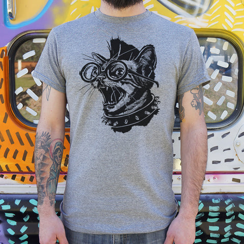 Mens Punk Cat T-Shirt