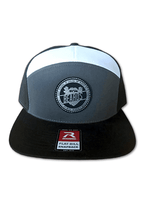 Load image into Gallery viewer, 7 Panel Tri-Color Trucker Hat (Multiple Patches)