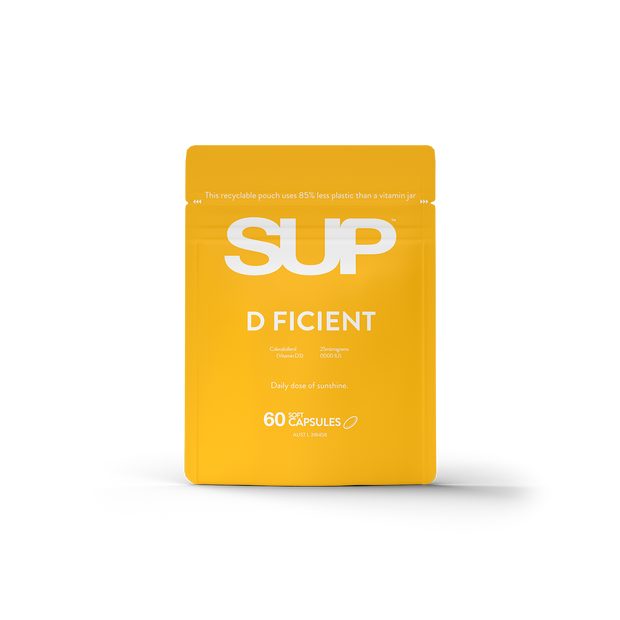 SUP 1000mg Vitamin D. D-Ficient, daily dose of sunshine. 60 soft capsules.
