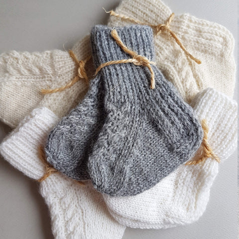 Handmade Woollen Baby Socks made in Finland White Ecru - Unik by Nature